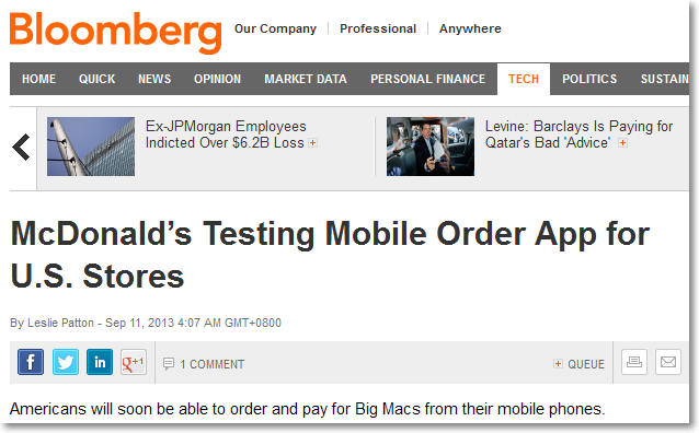 Bloomberg news for McDonalds