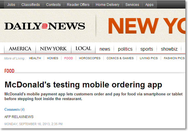Daily News article on McDonald's mobile payment app testing