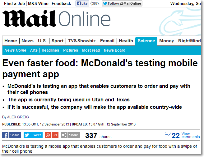 Mail Online news on McDonalds mobile payment app
