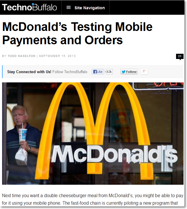 TechnoBuffallo news on McDonalds mobile payment app testing
