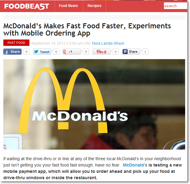 FoodBeast news on McDonalds mobile payment app testing