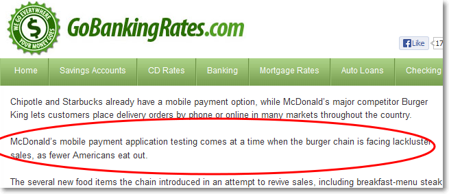 GoBankingRates.com's comment on McDonald's mobile payment app testing
